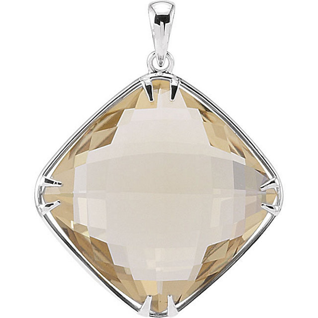 Sterling Silver 20x20mm Lemon Quartz Pendant