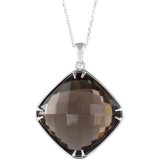 Perfect Gift Idea in Sterling Silver 20x20mm Smoky Quartz 18