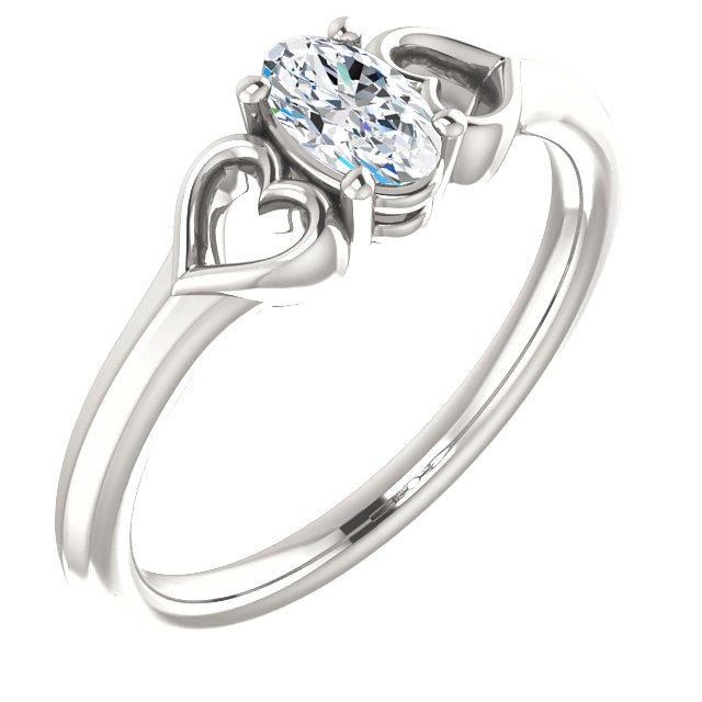 Great Buy in Sterling Silver .25 Carat Diamond Youth Heart Ring