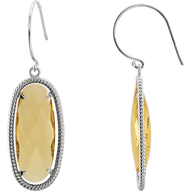Contemporary Sterling Silver 25 X 10mm Oval Honey Quartz Rope-Styled Dangle Earrings
