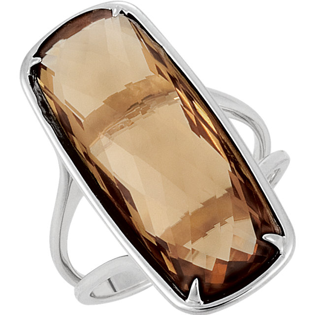 Sterling Silver 25x10mm Genuine Honey Quartz Ring