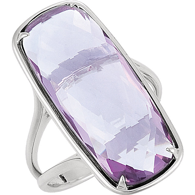 Appealing Jewelry in Sterling Silver 25x10mm Rose Quartz Ring