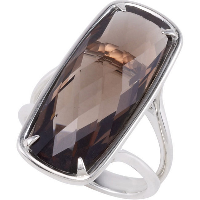 Surprise Her with  Sterling Silver 25x10mm Smoky Quartz Ring