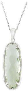 Sterling Silver 25x10mm Green Quartz 18