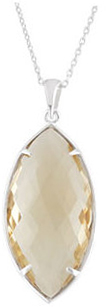 Sterling Silver 28x14mm Honey Quartz 18