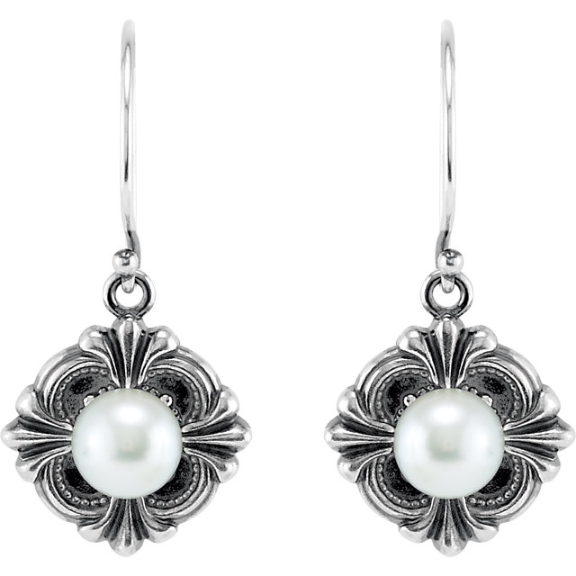 Very Nice Sterling Silver 29.2x14.3mm ViCaratorian Style Earring Mounting for Pearl