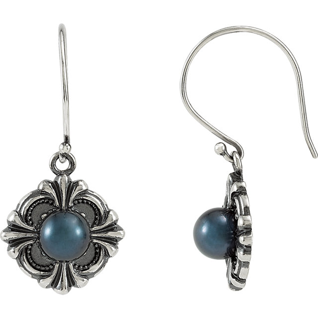 Fine Quality Sterling Silver 29.2x14.3mm ViCaratorian Style Earring Mounting for Pearl