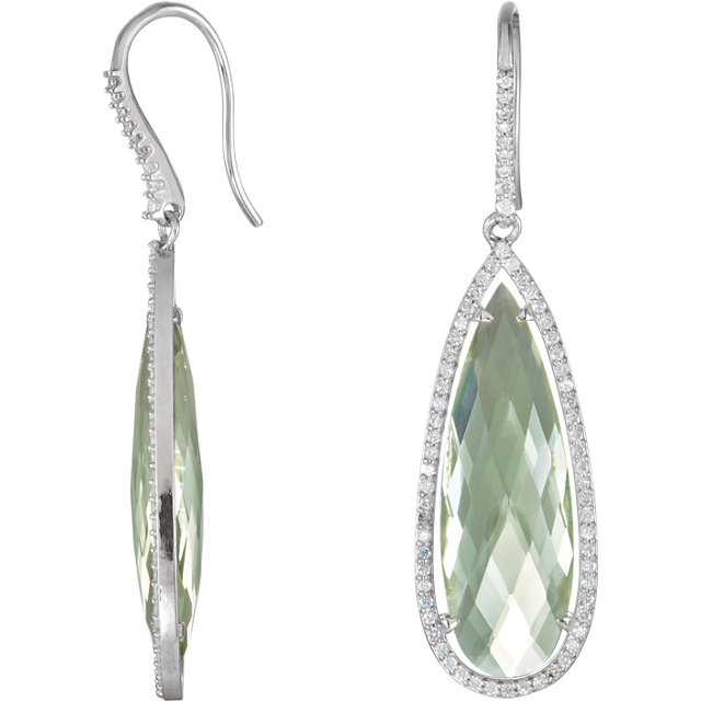 Must See Sterling Silver 0.75 Carat Total Weight Diamond & Green Quartz Halo-Style Pear-Shaped Dangle Earrings