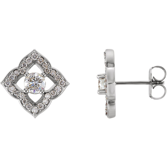 Stunning Sterling Silver 0.75 Carat Total Weight Diamond Halo-Style Clover Earrings