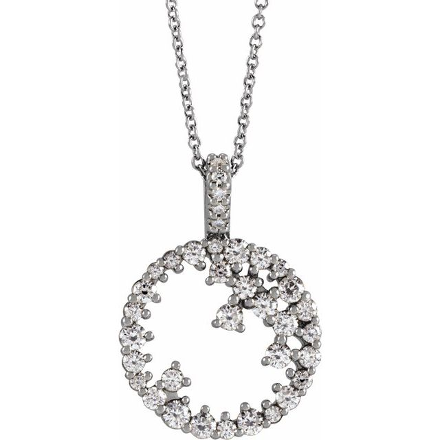 Real Diamond Necklace in Sterling Silver 3/4 Carat Diamond Scattered Circle 16-18