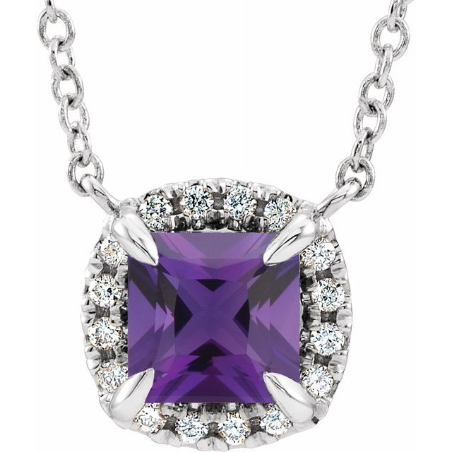 Genuine Amethyst Necklace in Sterling Silver 3.5x3.5 mm Square Amethyst & .05 Carat Diamond 16