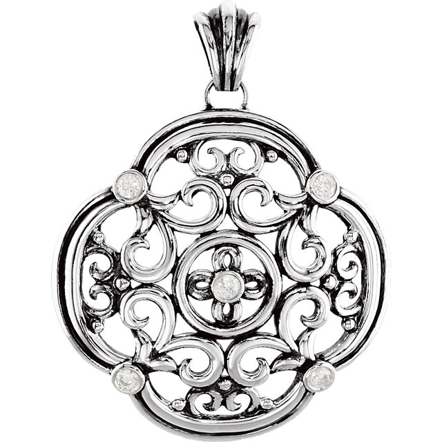 Genuine Sterling Silver 0.40 Carat Diamond Filigree Pendant