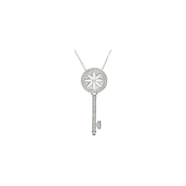 Sterling Silver 0.40 Carat Diamond Key 18