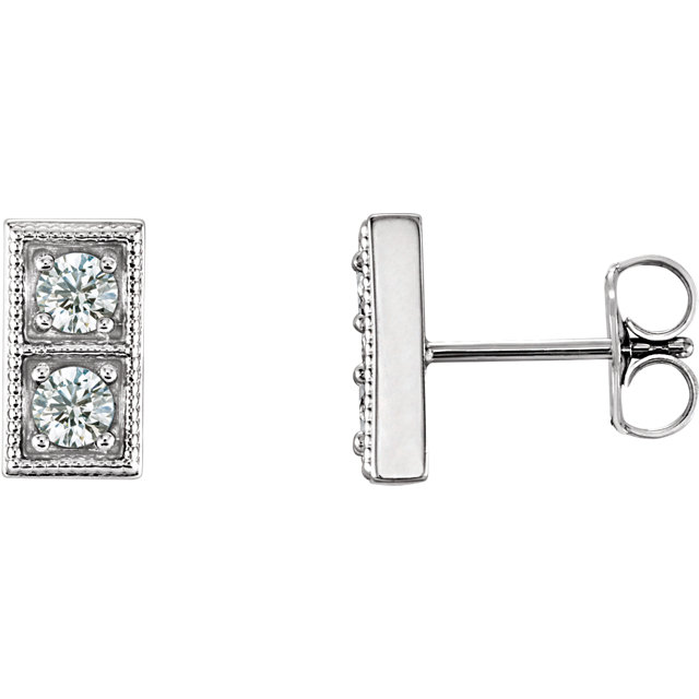 Wonderful Sterling Silver 0.40 Carat Total Weight Diamond Two-Stone Earrings