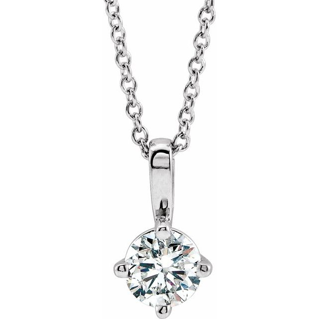 Real Diamond Necklace in Sterling Silver 3/8 Carat Diamond Solitaire 16-18