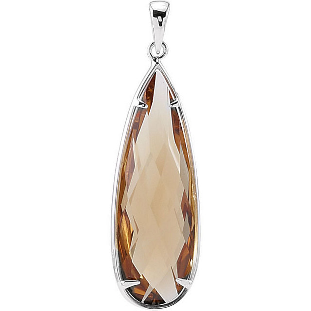 Sterling Silver 30x10mm Honey Quartz Pendant