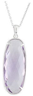 Sterling Silver 30x12mm Rose De France Quartz Pendant