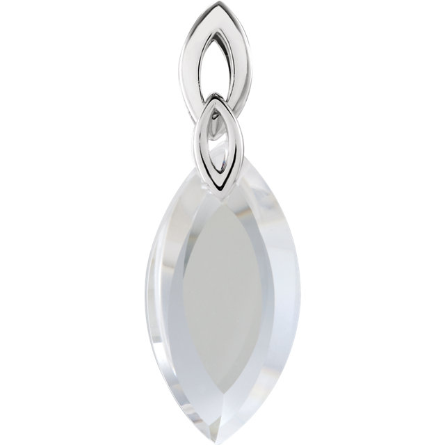 Sterling Silver 36x12x7mm Clear Quartz Marquise Shaped Pendant
