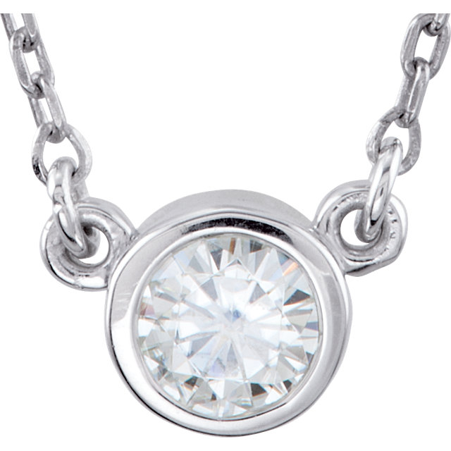Sterling Silver 4.1mm Round Forever Classic Moissanite 16