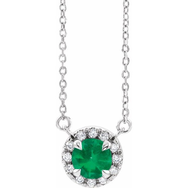 Genuine Chatham Created Emerald Necklace in Sterling Silver 4.5 mm Round Chatham Lab-Created Emerald & .06 Carat Diamond 16