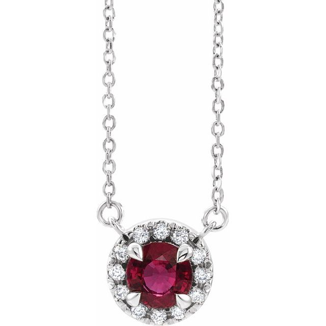 Genuine Ruby Necklace in Sterling Silver 4.5 mm Round Ruby & .06 Carat Diamond 16