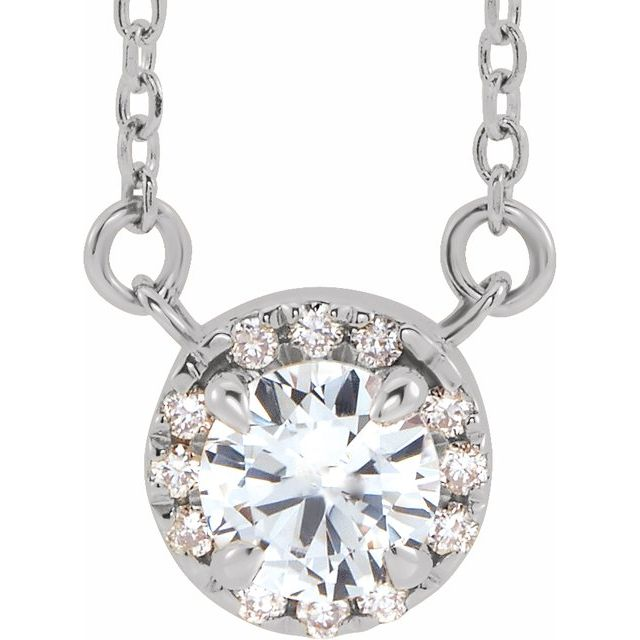 Genuine Sapphire Necklace in Sterling Silver 4.5 mm Round White Sapphire & .06 Carat Diamond 18
