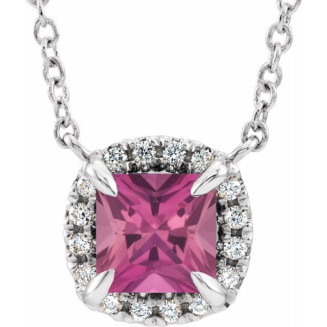 Pink Tourmaline Necklace in Sterling Silver 4x4 mm Square Pink Tourmaline & .05 Carat Diamond 16