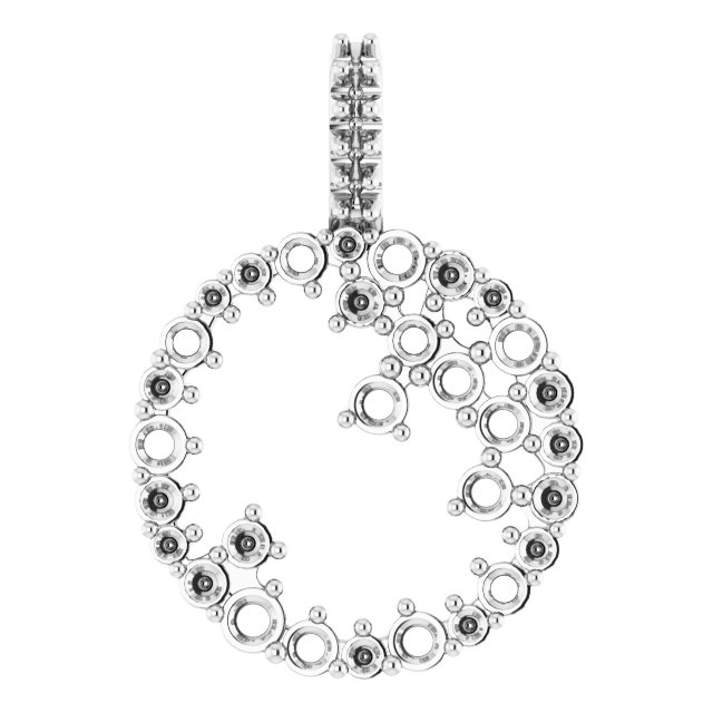Real Diamond Pendant in Sterling Silver 5/8 Carat Diamond Scattered Circle Pendant