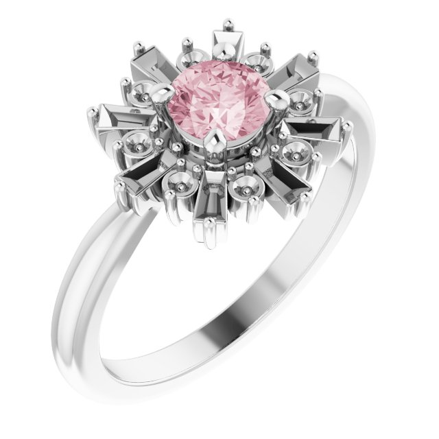 Pink Morganite Ring in Sterling Silver 5 mm Round Pink Morganite & 3/8 Carat Diamond Ring