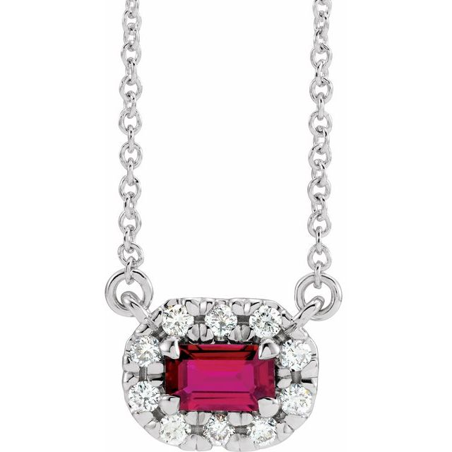 Genuine Ruby Necklace in Sterling Silver 5x3 mm Emerald Ruby & 1/8 Carat Diamond 16