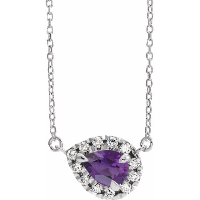 Genuine Amethyst Necklace in Sterling Silver 5x3 mm Pear Amethyst & 1/8 Carat Diamond 18