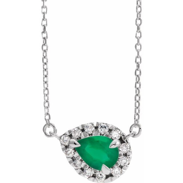Genuine Chatham Created Emerald Necklace in Sterling Silver 5x3 mm Pear Chatham Lab-Created Emerald & 1/8 Carat Diamond 16