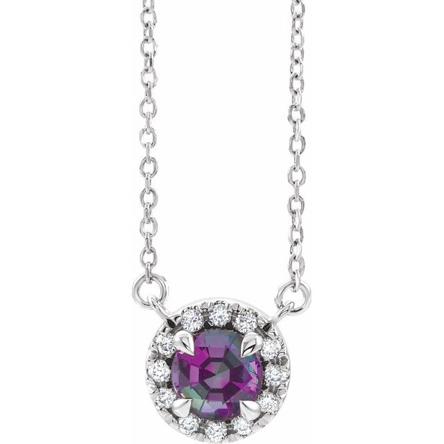 Chatham Created Alexandrite Necklace in Sterling Silver 6 mm Round Chatham Lab-Created Alexandrite & 1/5 Carat Diamond 18