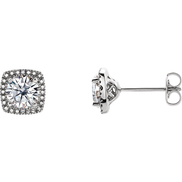 Gorgeous Sterling Silver 6mm Round Genuine Charles Colvard Forever One Moissanite & .015 Carat Total Weight Diamond Earrings