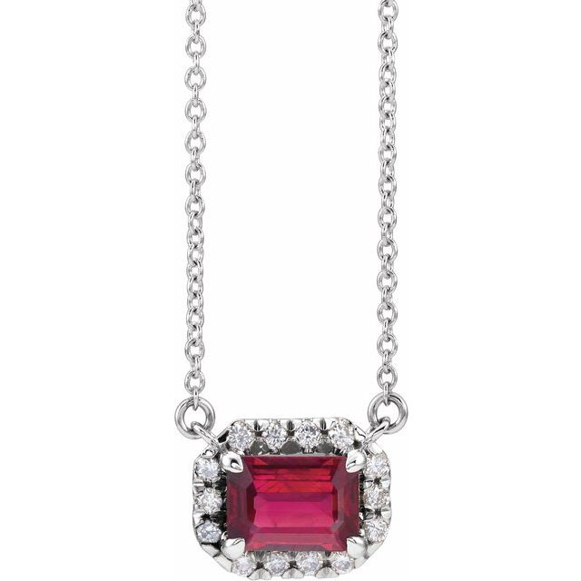 Genuine Ruby Necklace in Sterling Silver 6x4 mm Emerald Ruby & 1/5 Carat Diamond 16