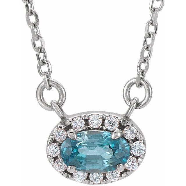 Genuine Zircon Necklace in Sterling Silver 6x4 mm Oval Genuine Zircon & 1/10 Carat Diamond 16