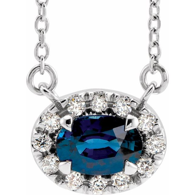 Chatham Created Sapphire Necklace in Sterling Silver 6x4 mm Oval Chatham Lab-Created  Sapphire & 1/10 Carat Diamond 16