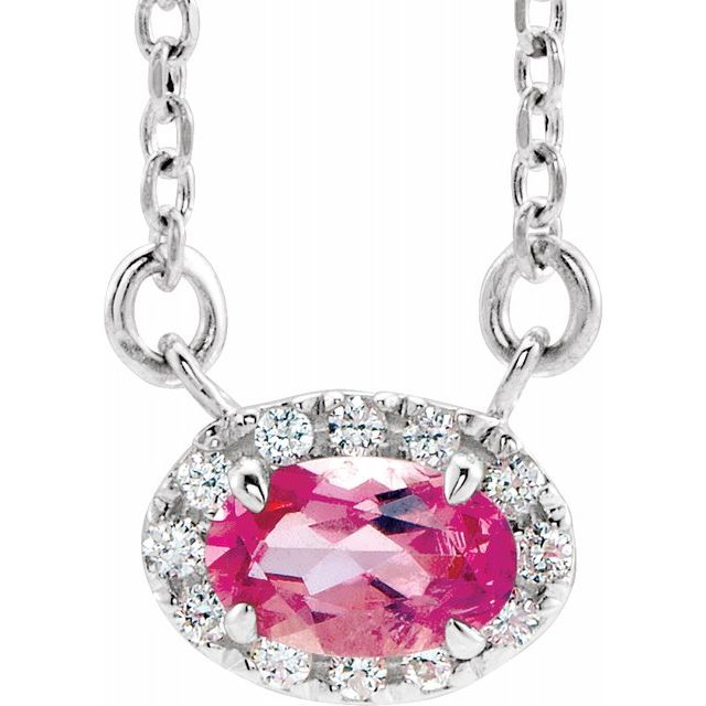 Pink Tourmaline Necklace in Sterling Silver 6x4 mm Oval Pink Tourmaline & 1/10 Carat Diamond 16