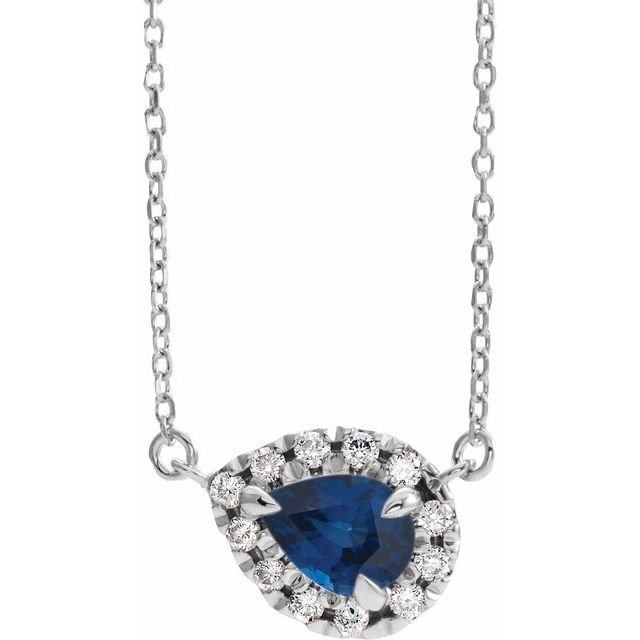 Genuine Sapphire Necklace in Sterling Silver 6x4 mm Pear Genuine Sapphire & 1/6 Carat Diamond 16