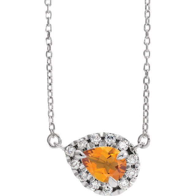 Golden Citrine Necklace in Sterling Silver 6x4 mm Pear Citrine & 1/6 Carat Diamond 16