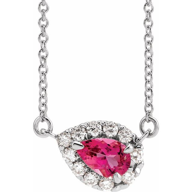 Pink Tourmaline Necklace in Sterling Silver 6x4 mm Pear Pink Tourmaline & 1/6 Carat Diamond 16