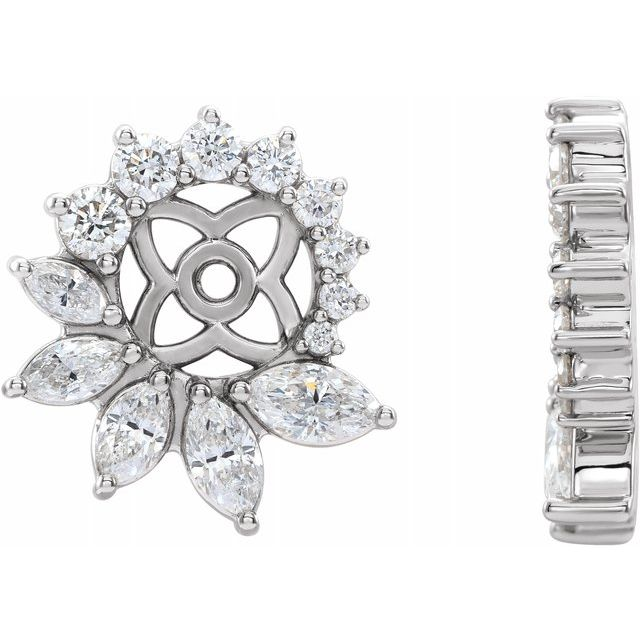 Natural Diamond Earrings in Sterling Silver 7/8 Carat Diamond Earring Jackets with 6 mm ID