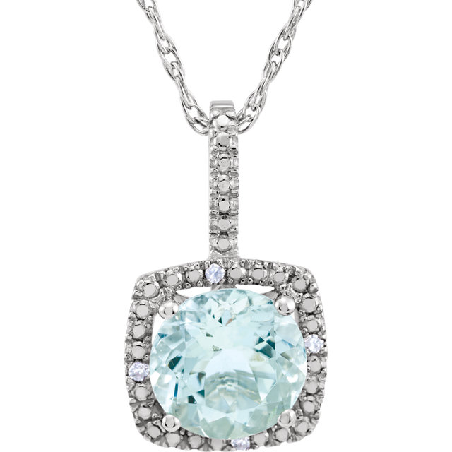 Great Buy in Sterling Silver 7mm Aquamarine & .015 Carat Total Weight Diamond 18