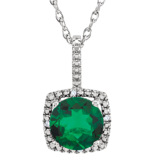 Jewelry in Sterling Silver 7mm Lab-Grown Emerald & .015 Carat TW Diamond 18