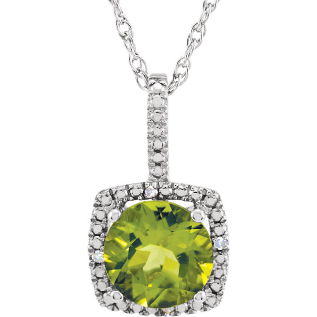 Surprise Her with  Sterling Silver 7mm Peridot & .015 Carat Total Weight Diamond 18