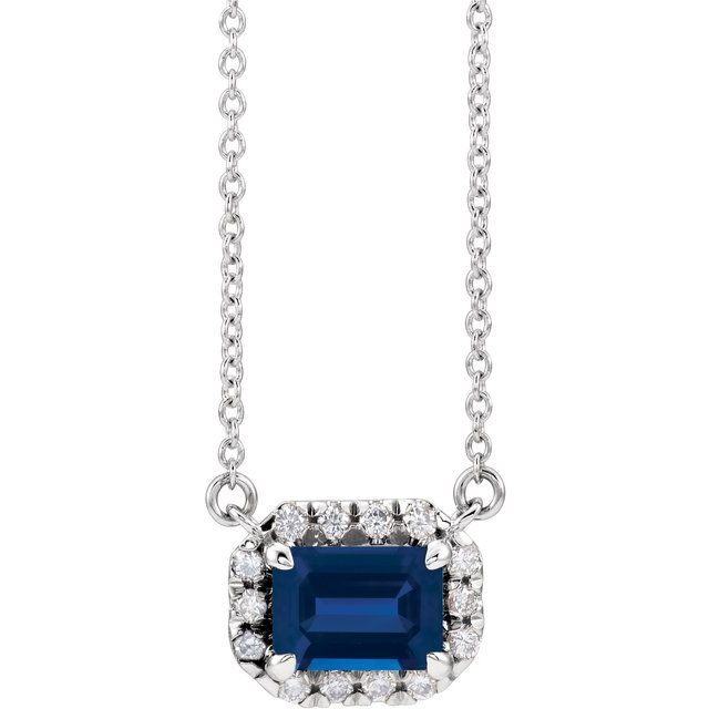 Genuine Sapphire Necklace in Sterling Silver 7x5 mm Emerald Genuine Sapphire & 1/5 Carat Diamond 16