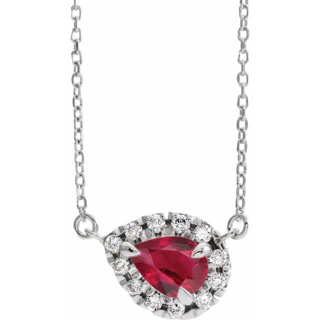 Genuine Ruby Necklace in Sterling Silver 7x5 mm Pear Ruby & 1/6 Carat Diamond 16
