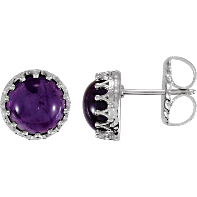 Quality Sterling Silver 8mm Round Amethyst Earrings