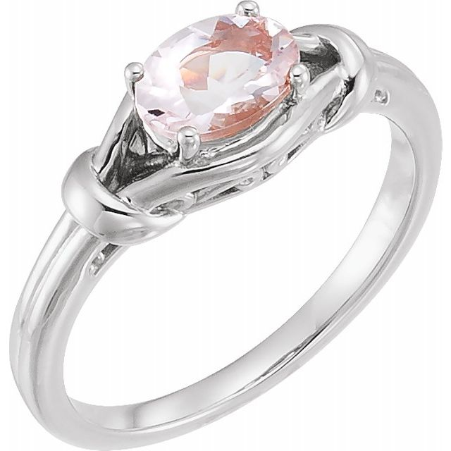 Pink Morganite Ring in Sterling Silver 8x6 mm Oval Morganite Knot Ring