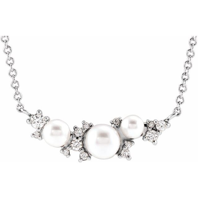 Genuine Akoya Pearl Necklace in Sterling Silver Akoya Cultured Pearl & .08 Carat Diamond 16